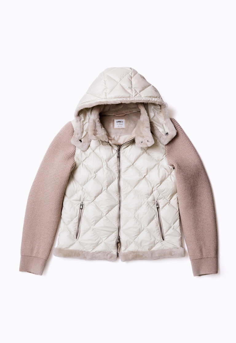 MOUTON DOWN BLOUSON WITH KNIT SLEEVE